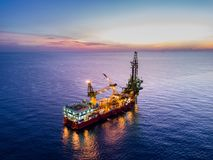 Aerial View of Tender Drilling Oil Rig Barge Oil Rig Stock Image