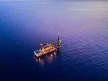 Aerial View of Tender Drilling Oil Rig Barge Oil Rig Royalty Free Stock Image
