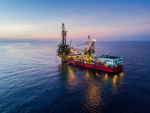 Aerial View of Tender Drilling Oil Rig Barge Oil Rig Royalty Free Stock Photos
