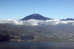 Aerial view of Tenerife island Canary Islands Spain with Teide v Royalty Free Stock Images