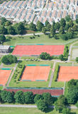 Aerial View with Tennis Courts Stock Image