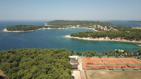 Aerial view of tennis courts on the shore of the Adriatic sea in Pula, Croatia Stock Photo