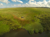 Aerial view of tent in the wild steppe of Kazakhstan Royalty Free Stock Photos
