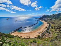 Aerial view of Teresitas Beach in Tenerife, Canary Islands, Spain.  royalty free stock photos