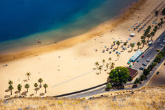 Aerial view on Teresitas beach, Tenerife, Canary islands, Spain Royalty Free Stock Images