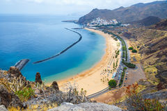 Aerial view on Teresitas beach,Tenerife, Canary islands, Spain Stock Image