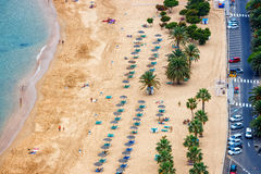 Aerial view on Teresitas beach, Tenerife, Canary islands, Spain Stock Images