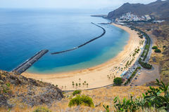 Aerial view on Teresitas beach,Tenerife, Canary islands, Spain Royalty Free Stock Images