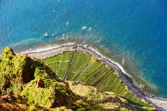 Aerial view of terrace fields at Cabo Girao, Madeira, Portugal. Aerial view of green terrace fields and ocean shore at Cabo Girao, Madeira, Portugal royalty free stock photo