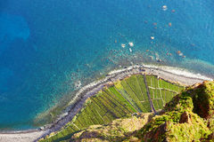 Aerial view of terrace fields and ocean shore at Cabo Girao, Madeira Stock Images