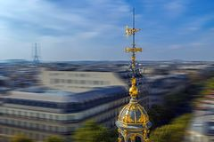Aerial view in blur motion from the terrace of store Printemps,. Aerial view from the terrace of store Printemps founded in 1865 in Paris - largest beauty Royalty Free Stock Photos