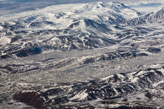 Aerial view of terrain with snowy mountains of Iceland Royalty Free Stock Images