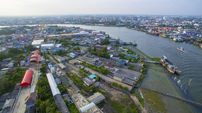 Aerial view of tha chin river in mahachai samtuhsakorn outskirt Stock Photos