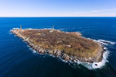 Thacher Island Lighthouses, Cape Ann, Massachusetts. Aerial view of Thacher Island Lighthouses on Thacher Island, Cape Ann, Massachusetts, USA. Thacher Island stock images