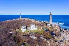 Thacher Island Lighthouses, Cape Ann, Massachusetts. Aerial view of Thacher Island Lighthouses on Thacher Island, Cape Ann, Massachusetts, USA. Thacher Island stock photo