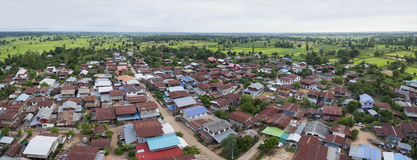 Aerial view of thai domestic home in mahasarakham province north Royalty Free Stock Photography