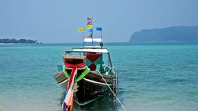 Aerial view on Thai traditional boats in Thailand stock video footage