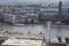 Aerial view with thames river, bridge and building Royalty Free Stock Images