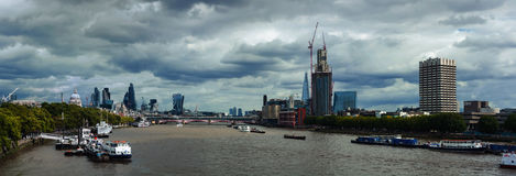 Aerial view of Thames river, London, UK Stock Photo