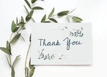 Aerial view of thank you card Royalty Free Stock Photo
