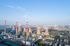 Aerial view of thermal power plant. Dezhou city ,shandong province,China Stock Photos