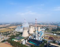Aerial view of thermal power plant Royalty Free Stock Images