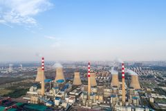 Aerial view of thermal power plant Stock Images