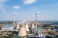 Aerial view of thermal power plant Stock Photo