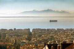Aerial view of Thessaloniki, Greece. Panoramic view of the area of the upper town Royalty Free Stock Photos