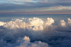 Aerial view of thick clouds over the land, the landscape. Royalty Free Stock Photos
