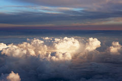 Aerial view of thick clouds over the land, the landscape. Stock Images