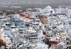 Aerial view of Thira town on Santorini island, Cyclades, Greece royalty free stock photo