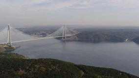 Aerial view of the third bridge of Istanbul stock footage