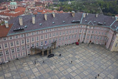 Aerial view of the third courtyard of Prague castle Royalty Free Stock Photo