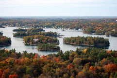 Aerial view of Thousand Islands in fall, New York, USA
