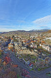 Aerial View of the Thun City and mountains Stock Photo