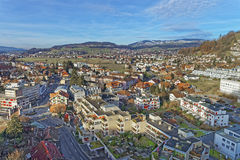 Aerial View of the Thun Town and mountains Stock Images