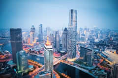 Aerial view of tianjin in nightfall. Aerial view of tianjin financial district in nightfall, china Stock Photo