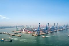 Aerial view of tianjin port. Aerial view of container terminal in port of tianjin, busy modern logistics harbor Stock Images