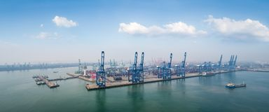 Aerial view of tianjin port. Against a blue sky, China Stock Photography
