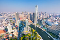 Aerial view of tianjin skyline in the afternoon Royalty Free Stock Photo