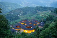 Aerial view of Tianluokeng Tulou cluster royalty free stock image