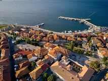 Aerial view of old Nessebar ancient city on the Black Sea coast of Bulgaria royalty free stock photography