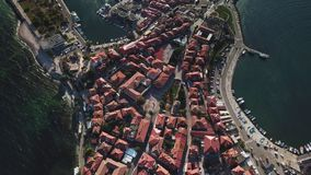 Aerial view of tile roofs of old Nessebar, ancient city, Bulgaria stock video