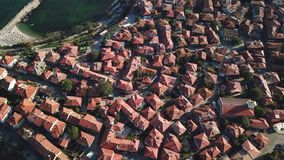Aerial view of tile roofs of old Nessebar, ancient city, Bulgaria stock footage
