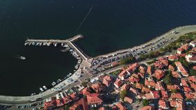 Aerial view of tile roofs of old Nessebar, ancient city, Bulgaria stock video footage