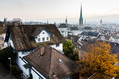 Aerial View on Tiled Roofs and Churches of Zurich Royalty Free Stock Photo