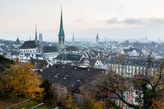 Aerial View on Tiled Roofs and Churches of Zurich Stock Photography