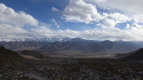 Aerial view of time lapse Leh city Ladakh stock video