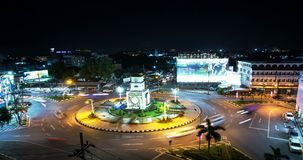 Aerial view time lapse of Phuket popular roundabout intersection. stock video footage